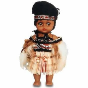 Maori Wahine Doll with Cloak, Skirt & Pois