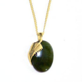 Gold Plated and Greenstone Oval and Fern Pendant