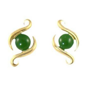 Gold Plated Greenstone Contemporary Fish Hook Earrings