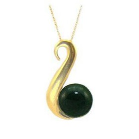 Gold Plated Greenstone Contemporary Fish Hook Pendant