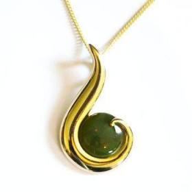 22ct Gold Plated Greenstone Contemporary Fish Hook Pendant