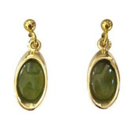 Gold Plated and Greenstone Teardrop Earrings