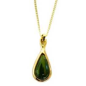 Gold Plated and Greenstone Teardrop Pendant