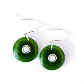 Greenstone Circle Earrings with Pearl and Satin Finish