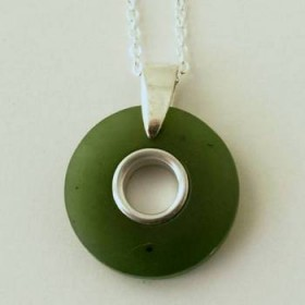 Greenstone Circle Pendant with Satin Finish
