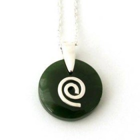 Greenstone Circle Pendant with Sterling Silver Koru