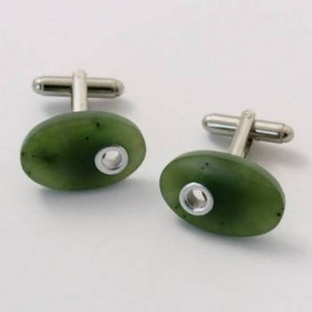 Greenstone Oval Cuff Links with Silver Inlay