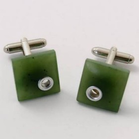 Greenstone Square Cuff Links with Sterling Silver Inlay