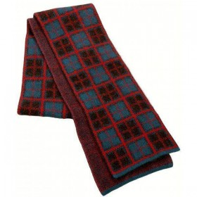 Possum Merino Tartan Scarf by McDonald Textiles Teal Red