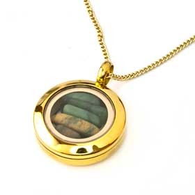 Gold New Zealand Greenstone Locket by Moreton Jewellery 20mm