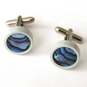 Paua Round Cuff Links with Satin Finish
