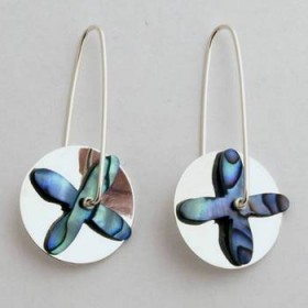 Paua and Sterling Silver Tapa Earrings