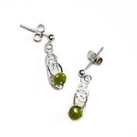 Sterling Silver and Greenstone Jandal Earrings