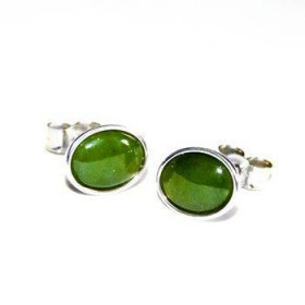 Sterling Silver and Greenstone Stud Earrings