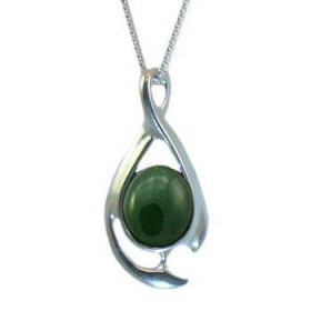 Sterling Silver and Greenstone Contemporary Twist Pendant