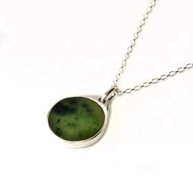 Sterling Silver & Greenstone Kiwi Pendant Side