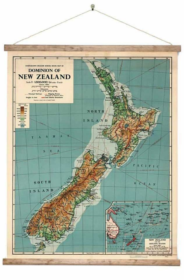 Vintage Dominion Of New Zealand Map 3 Sizes