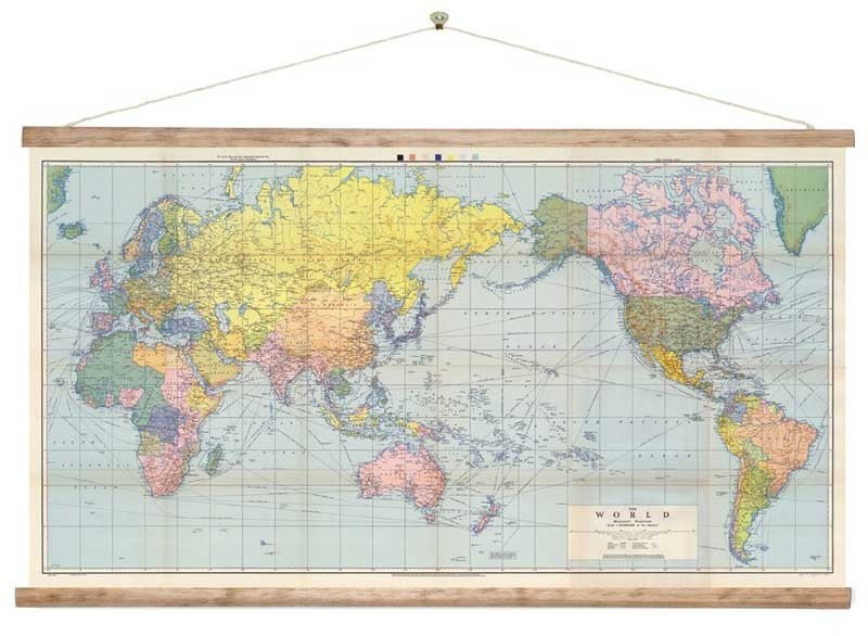World map wall chart new zealand centered ready to hang world map wall chart new zealand centered ready to hang silverfernz gumiabroncs Choice Image