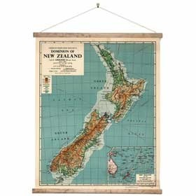 World map wall chart new zealand centered ready to hang vintage dominion of new zealand map in roll gumiabroncs Choice Image